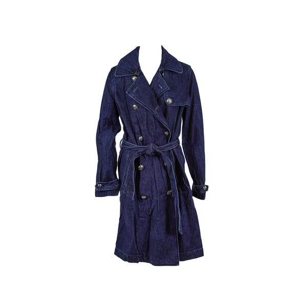 Lauren Ralph Lauren Women's Denim Trench Coat Dark Blue Size 6