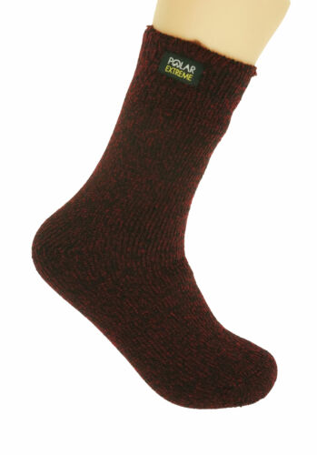 Polar Extreme Boy's Insulated Thermal Striped Crew Socks Red Black Marled