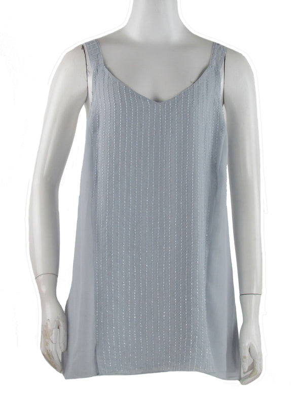 Robert Rodriguez Women's Sleeveless Front Slit Beaded Shirt Gray Size Medium