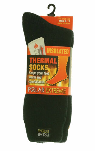 Polar Extreme Heat Men's Insulated Thermal Brushed Socks Black
