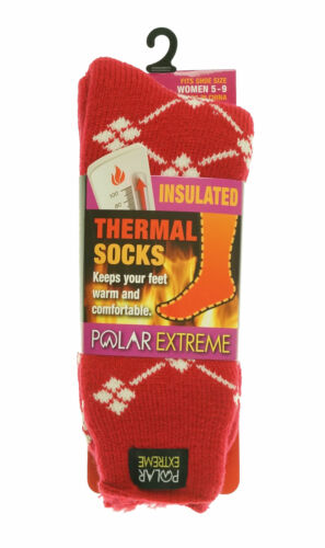 Polar Extreme Heat Women's Insulated Thermal Diamond Socks Red White
