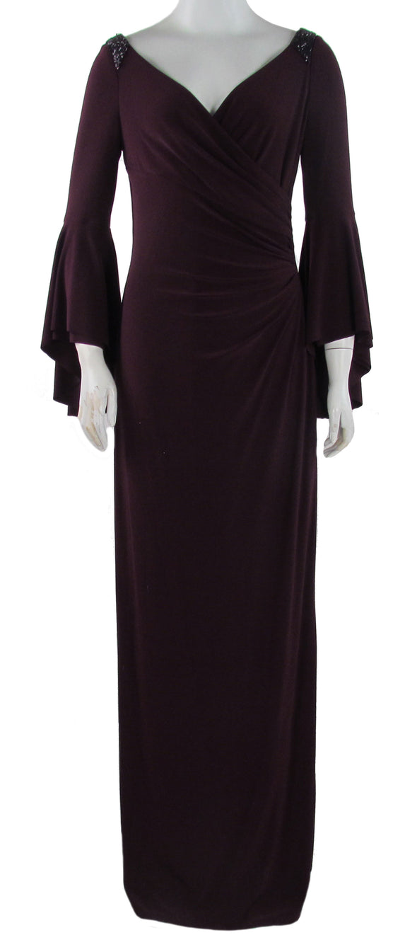 Lauren Ralph Lauren Women's Bell Sleeve Jersey Beaded Gown Plum Purple