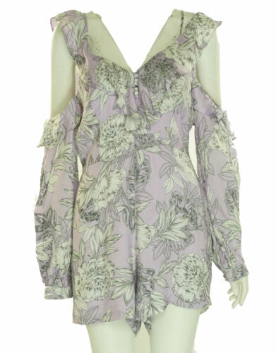 Bardot Women's Floral Print Cold Shoulder Romper Purple White
