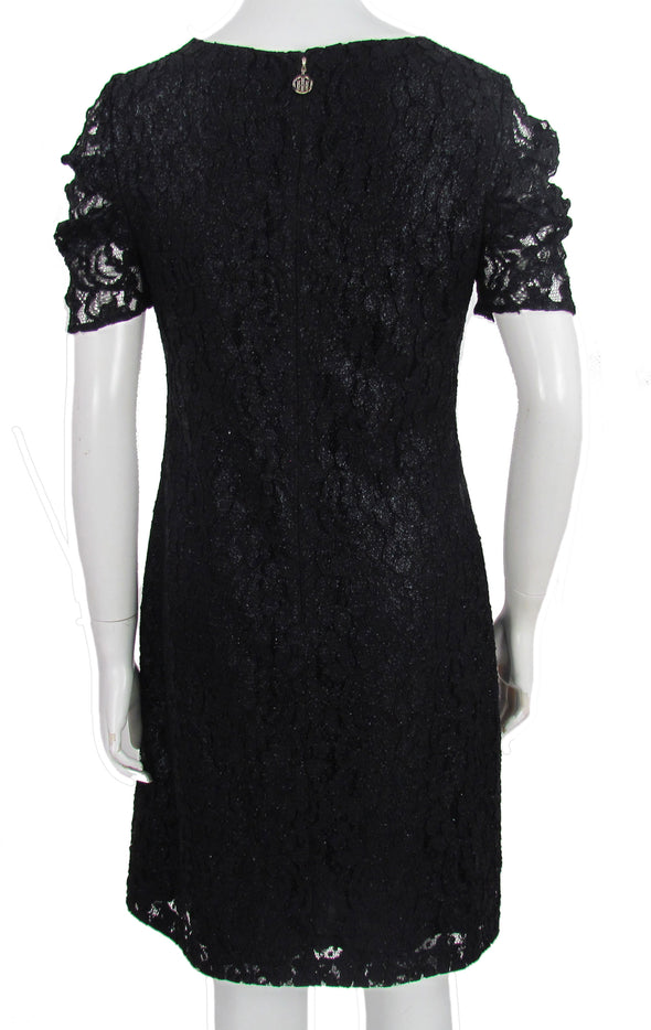 Tommy Hilfiger Women's Glitter Lace Short Sleeve Sheath Dress Black Size 4