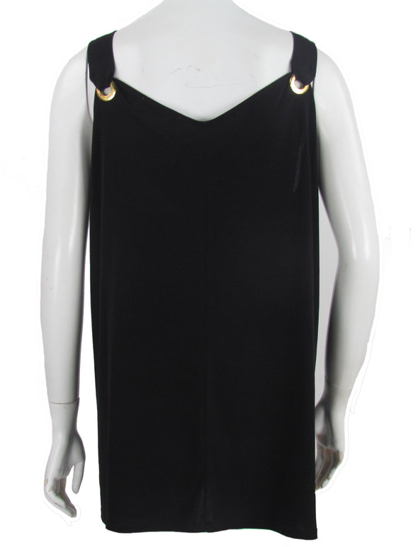 Michael Kors Women's Plus Size Grommet Trim Tank Top Black Size 2X