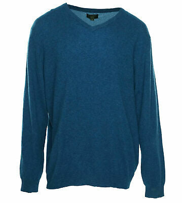 Club Room Mens V Neck Long Sleeve Cashmere Sweater Peacock Blue Heather Size 3XL