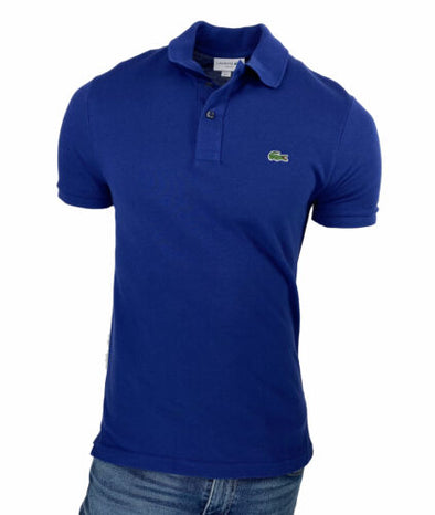 Lacoste Men's Slim Fit Short Sleeve Cotton Polo Ocean Blue Size Medium (4)