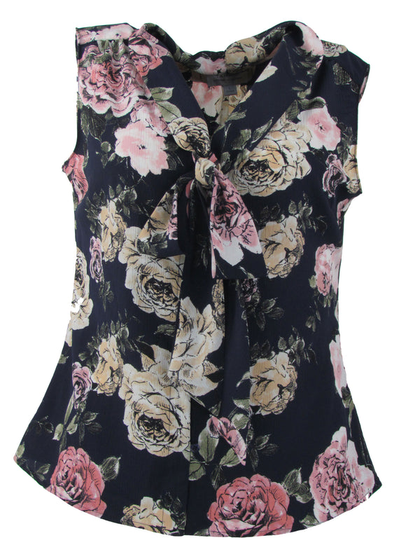 Tahari Women's Floral Print Tie Neck Sleeveless blouse Navy Blue Size Large