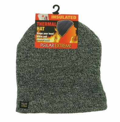 Polar Extreme Heat Men's Insulated Thermal Hat Marled Black White