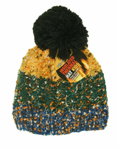 Polar Extreme Kids Thermal Insulated Pom Pom Colorblock Beanie Yellow Blue Green