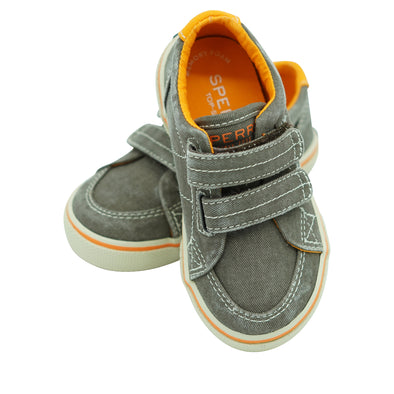 Sperry Boy's Top Sider Halyard Hook & Loop Sneaker Brown Saltwash Size 7.5 W
