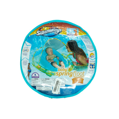 Swimways Infant Baby Spring Float with Adjustable Sun Canopy Blue Green