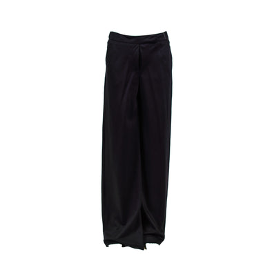 Graeme Black Women's Flat Front Silk Wide Leg Dress Pants Black Size 40 (2-4)