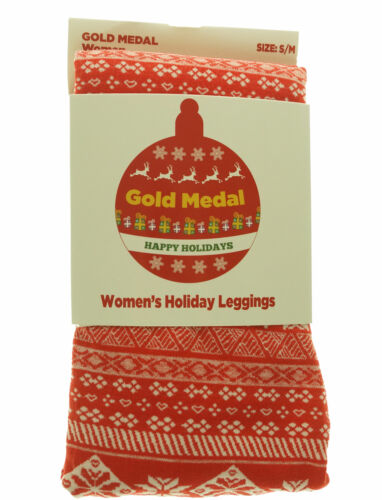Gold Medal Women's Fleece Lined Christmas Snowflake Fairisle Leggings Red