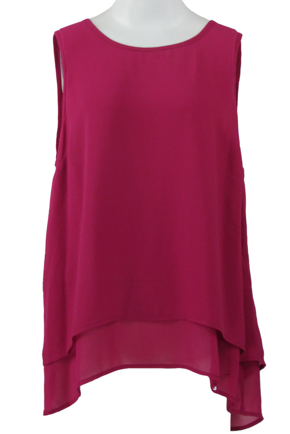 Michael Kors Women Sleeveless Slit Back Chiffon Tank Top Deep Fuchsia Size Large