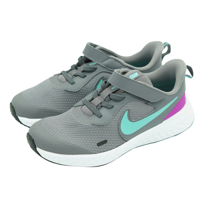 Nike Kid's Revolution 5 Stay Put Running Athletic Shoes Gray Size 3Y