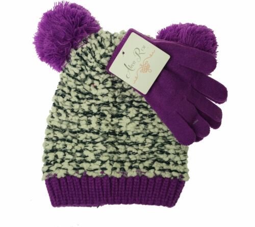 Alexa Rose Girl's Glove and Hat with Pom Pom Set Purple