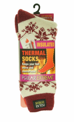 Polar Extreme Women's Thermal Insulated Lined Crew Socks Ivory Maroon Snowflakes