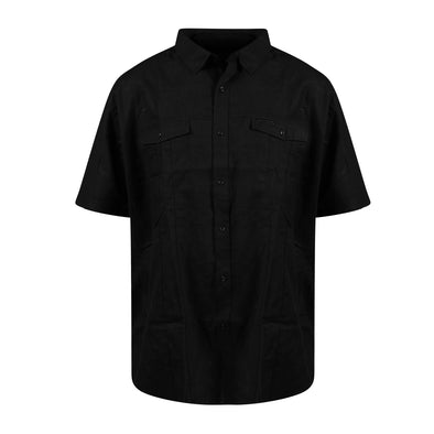 Sean John Men's Big & Tall Button Front Linen Short Sleeve Shirt Black Size 3XB