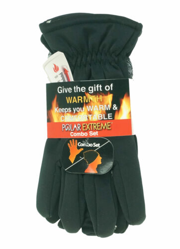 Polar Extreme Men's Heat Stretch Glove and Pull Hat Set Black White Marl