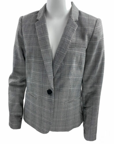 Calvin Klein Women's Petite One Button Plaid Blazer Gray Multi Size 8P