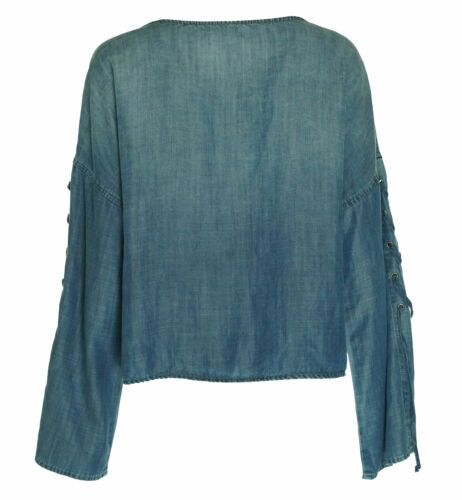 Bella Dahl Women's Lace Bell Sleeves Denim Top Denali Wash Blue Size Small
