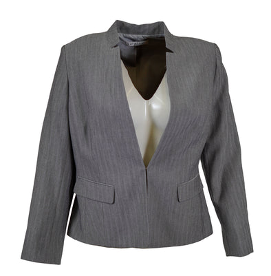 Kasper Women's Stand Collar Clasp Closure Blazer Gray