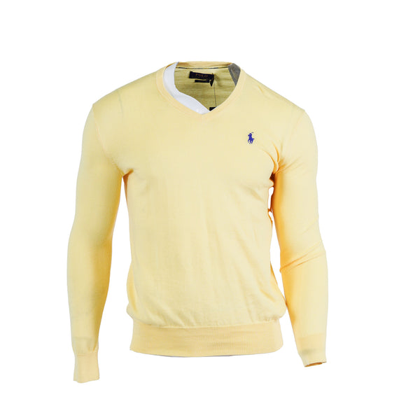 Polo Ralph Lauren Men's Cotton V Neck Long Sleeve Sweater Yellow Size XS