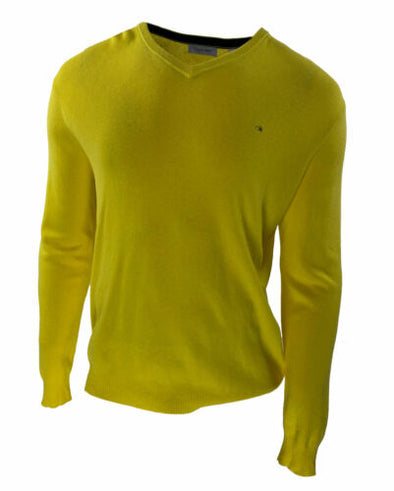 Calvin Klein Men's Ribbed V Neck Long Sleeve Sweater Yellow Size Large
