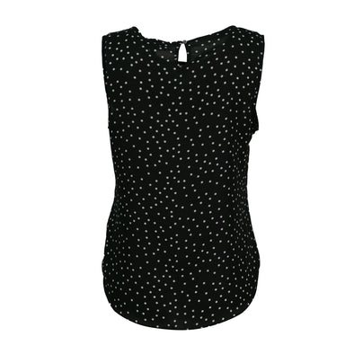 DKNY Women's Polka Dot Sleeveless Chiffon Top Black White Size Large