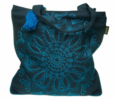 Catori Deja Embroidered Shoulder Tote Navy Blue