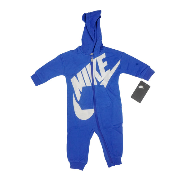 Nike Baby Hooded Zip Coverall Royal Blue White