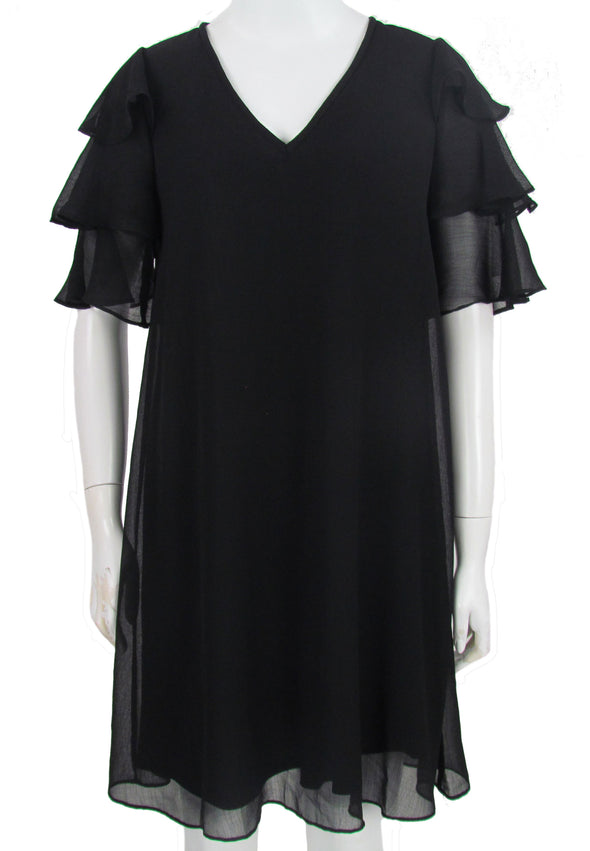 Calvin Klein Women's V Neck Tiered Chiffon Dress Black Size 2