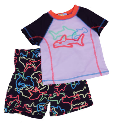 Baby Buns Toddler Boys 2 Piece Sharks Swim Trunks Rash Guard Black White