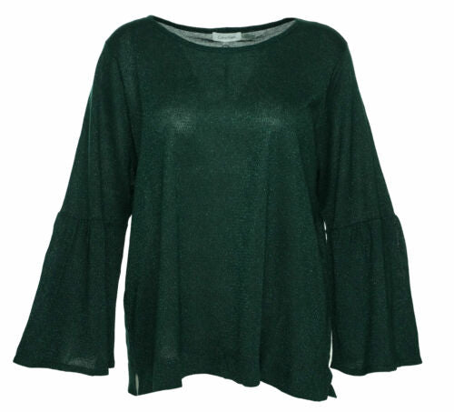 Calvin Klein Women's Plus Size Bell Sleeve Shimmer Sweater Green Size 2X