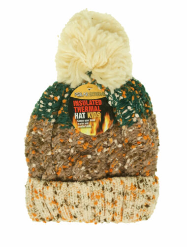 Polar Extreme Kid's Thermal Insulated Pom Pom Colorblock Beanie Beige Green