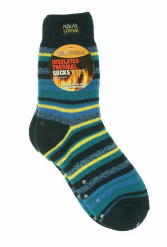 Polar Extreme Boy's Insulated Thermal Striped Crew Socks Blue Yellow Stripes