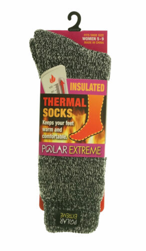 Polar Extreme Heat Women's Insulated Thermal Marl Brushed Socks Black