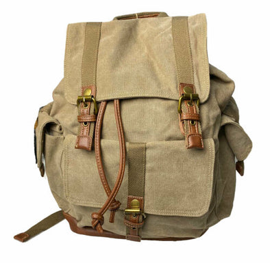 Cargo IT Canvas Drawstring Flap Over Backpack Khaki