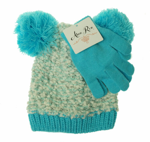 Alexa Rose Girl's Glove and Hat with Pom Pom Set Blue