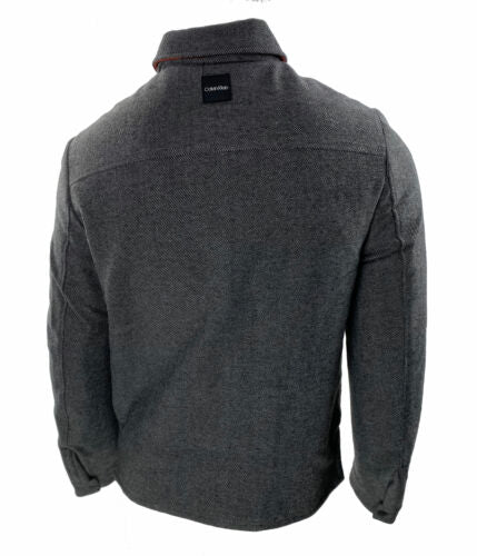 Calvin Klein Men's Herringbone Full Zip Jacket Charcoal Size Medium
