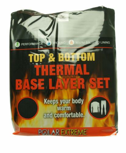Polar Extreme Men's 2 Piece Thermal Base Layer Set Top and Bottom Black