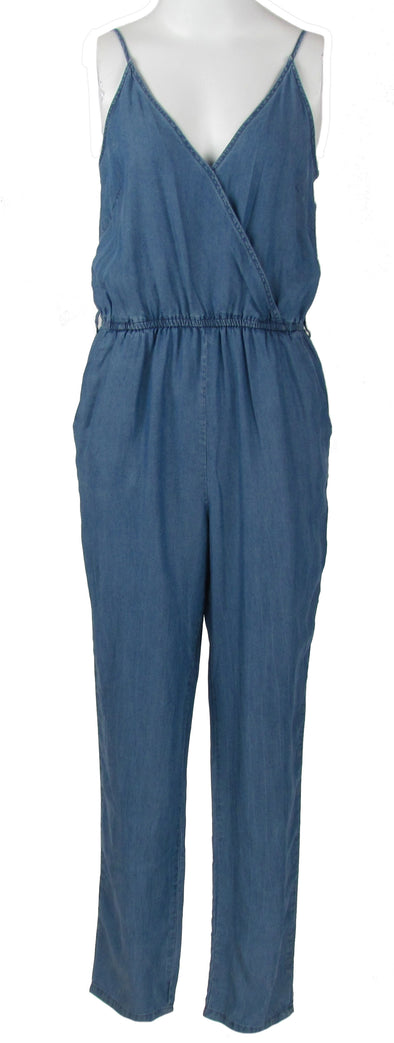 Do & Be Women's Crossover Chambray Jumpsuit Blue Size Small