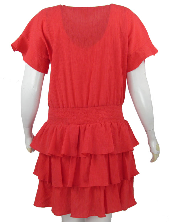 Michael Kors Women's A Line Textured Tiered Knee Length Dress Coral Red Size XL