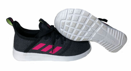 Adidas Kid's Cloudfoam Pure Athletic Sneakers Black Pink Gray Size 1.5