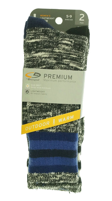 Champion Women's 2 Pair Premium Outdoor Lightweight Crew Socks Shoe Size 5-9