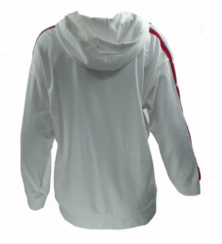 Calvin Klein Performance Women's Plus Striped Fitness Hoodie White Size 3X