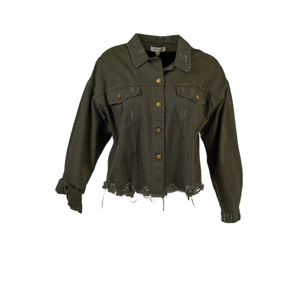 She + Sky Women's Button Up Distressed Denim Jacket Olive Green