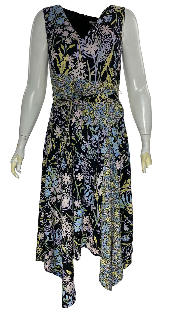 Calvin Klein Women's Floral Print V Neck Handerchief Hem Dress Black Size 12