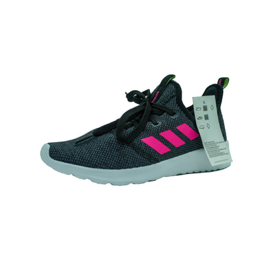 Adidas Girls Cloudfoam Pure Memory Foam Running Athletic Shoes Black Pink Size 3